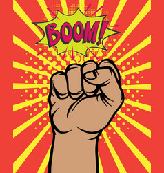 pop art comic poster with boom clenched hand fist vector image