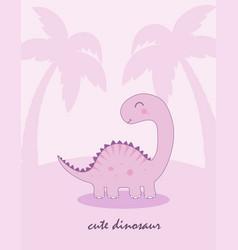 Poster cute dino vector