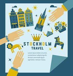 Poster invitation to travel to Stockholm vector