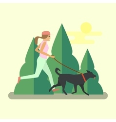 Pretty girl running with a dog vector