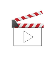 red movie clapper board with thin line play sign vector image