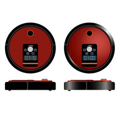 robot vacuum cleaner - modern automatic equipment vector image