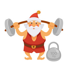Santa sport exercise barbell daily christmas life vector
