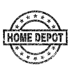 Scratched textured home depot stamp seal vector