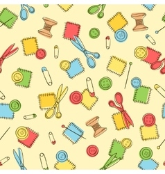 Seamless pattern with sewing button pin patch vector