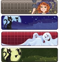 set funny halloween banners vector image