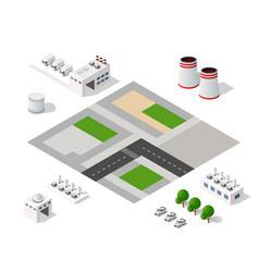 set modern isometric buildings vector image