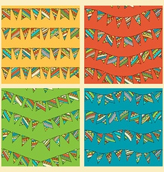Set of bright seamless bunting patterns vector