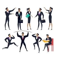 Set of Business People Characters in Flat Design vector image