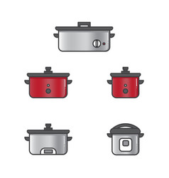 Set of slow cooker for rice and other food vector