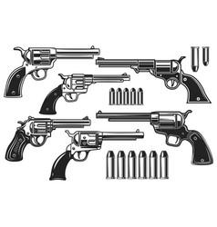 set revolvers and cartridges design element vector image