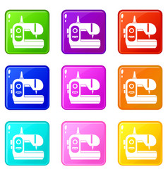 Sewing machine icons 9 set vector