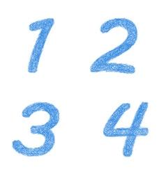 Sketch font set - numbers 1 2 3 4 vector