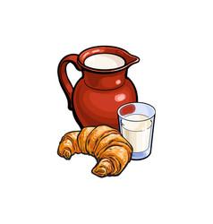 sketch glass of milk jug crock croissant vector image