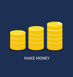 stack of gold coins in a flat style vector image