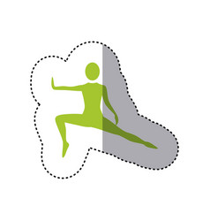 sticker green silhouette woman stretching leg side vector image