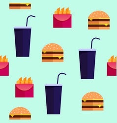 street food fastfood seamless pattern vector image
