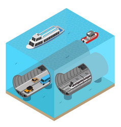 Subway tunnel under water concept 3d isometric vector