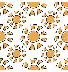 Sunny seamless pattern cute doodle suns summer vector