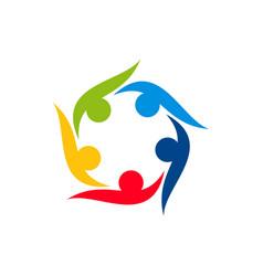 Team work concept collaboration partnership logo vector