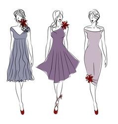 three catwalk models vector image vector image