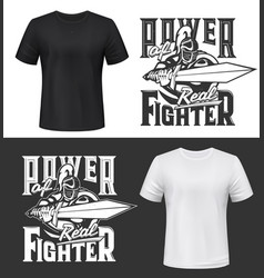 Tshirt print with knight and sword mockup vector