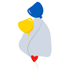 Two flying balloons yellow-blue color colors vector