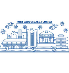 Usa florida fort lauderdale winter city skyline vector