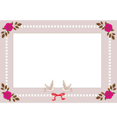 Vintage frame with pearls roses and birds vector image