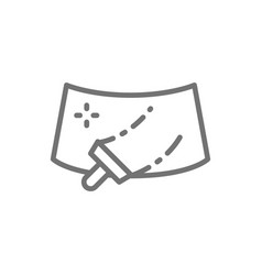 Washing windshield a car line icon vector