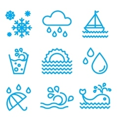 Water And Drop Icons Set vector