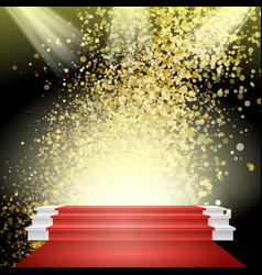 white winners podium red carpet gold vector image