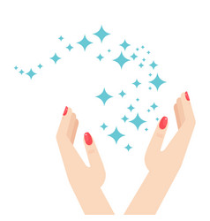 Woman hands and brilliance star vector