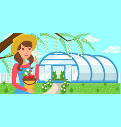 Woman with crop on greenhouse background vector