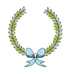 Wreath leafs with bow decorative vector