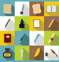 writing icons set items flat style vector image