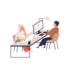 Young happy people working with computers vector