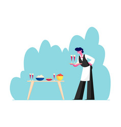 Young waiter male character in uniform and apron vector