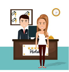 young woman in the hotel reception character scene vector image