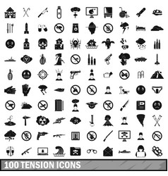 100 tension icons set simple style vector image vector image