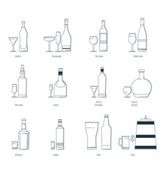 a set of alcoholic drinks in vector image