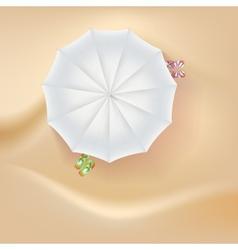 Beach slippers and a sun umbrella on sand vector image