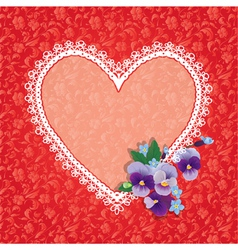 Card with Heart shape is made of lace doily and pa vector image