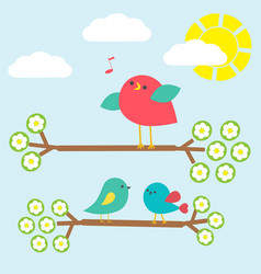 cute birds on springtime branches vector image vector image