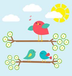 cute birds on springtime branches vector image