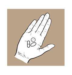Hand holding three pills tablets in open palm vector