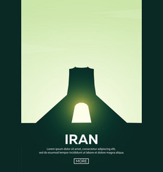 travel poster to iran landmarks silhouettes vector image