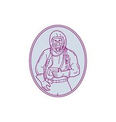 Worker Haz Chem Suit Oval Mono Line vector image vector image