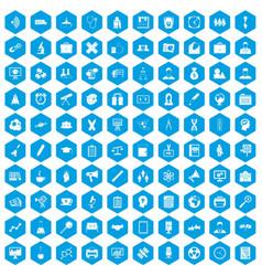 100 seminar icons set blue vector
