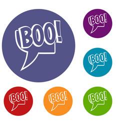 Boo comic text speech bubble icons set vector